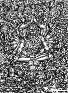 ART OF GARBHAGRIHA / SANCTUARY ART / KARUVARAI OVIYAM / KARUVARAI OVIYANGAL / Anikartick Shiva Art, Shiva Shakti, Krishna Art, Hindu Art, Indiana, Lord Hanuman Wallpapers, Hanuman Images, Shri Hanuman, Lord Shiva Family