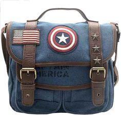 Loungefly X Marvel Captain America Canvas Crossbody Bag Blue: Handbags: Amazon.com