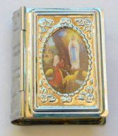 Silver Book Rosary Box from Lourdes Catholic Medals, Catholic Jewelry, Rosary Catholic, Catholic Gifts, Prayer Cards, Christian Gifts, Religious Art, Woodblock Print, Japanese Art