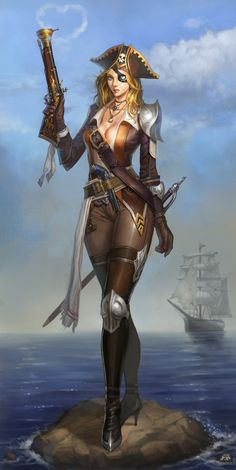 Pirate Fantasy Art | Pirate Woman Picture (2d, fantasy, illustration, pirate, girl, woman ...