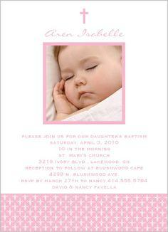 Angelic Cross Pink Baptism Invitation