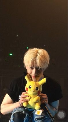 Mark with a Pikachu plush. <3 <3 How to be a Pokémon please?! XD