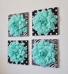 ALL ITEMS ARE MADE TO ORDER PLEASE SEE SHOP FOR CURRENT CREATION TIME!!! This listing is for 4 of the above pictured wall hangings: Large Mint Dahlia Flowers on