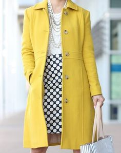 Crew Lady Day Coat in Warm Chartreuse and Ann Taylor Stripe Signature ToteAgeless style in a colourful yellow coat by J.Stylish Petite encompasses fashion, beauty, motherhood and more. Daily fashion inspiration, travel, sale alerts and everyday livin Work Fashion, Fashion Outfits, Office Fashion, Street Fashion, J Crew Outfits, Fashion Coat, Fashionable Outfits, Jeans Fashion, Dressy Outfits