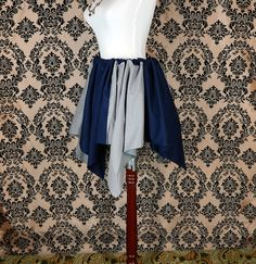 Dark Blue and Gray Bi-Color Pixie Petal Skirt by VeneficaCorsetry