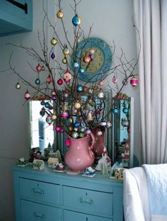 Blue (and pink) Christmas - love the idea of using a vintage water pitcher! Shabby Chic Christmas Decorations, Christmas Tree Decorations, Christmas Branches, Holiday Decor, Vintage Christmas Decorating, Christmas Mantles, Christmas Lanterns, Rustic Christmas, Xmas Tree