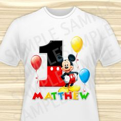 Mickey Mouse Iron On. Mickey Mouse Birthday by KidsPartyBoutique