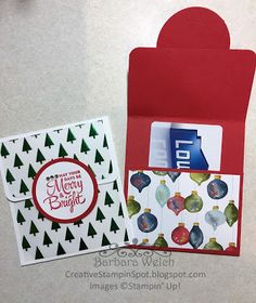 Lots of Joy Gift Card Holder - Barbara Welch - Creative Stampin' Spot Christmas Gift Card Holders, Christmas Cards, Christmas Items, Rustic Christmas, Gift Cards Money, Homemade Cards, Card Making, Paper Crafts, Diy Crafts