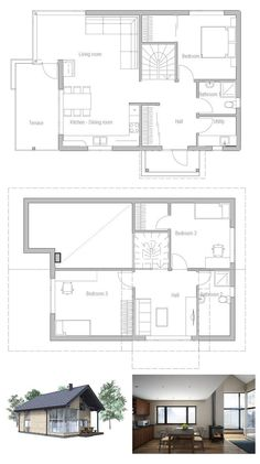 Ideal affordable small house plan to tiny lot. High ceiling in the living area. Small home design with efficient room planning. Floor Plan.