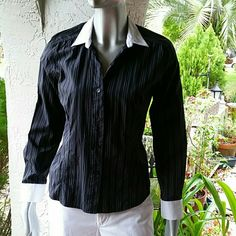 Two Tone B&W Pinstriped Blouse by Willi Smith Brand Willi Smith Size Large  100% Cotton  Classic button up/down blouse black & White Pinstriped two tone accented white cuffs and collar. Women tapered fit. Vneck Ready to go from my house to yours Bundles available with discounts Shipping Daily Willi Smith Tops Blouses