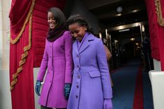 Inauguration 2013: Malia (wearing J Crew) and Sasha (wearing Kate Spade) Obama. They are such beautiful and poised young ladies