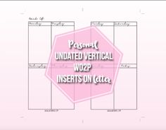 Vertical Personal Weekly Inserts - Wendaful