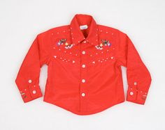 Vintage Toddler Cowboy Shirt Cowgirl Shirt Red Floral Embroidered Rockabilly Shirt 1970s 70s Long Sleeve Shirt Blouse 2T 2 Toddler Girl Boy #vintage #etsy #70s #1970s #toddler #cowboy #cowgirl #western #rockabilly