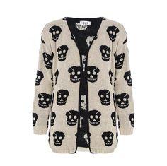 skull clothing | Stone Skull Cardigan - Quiz Clothing