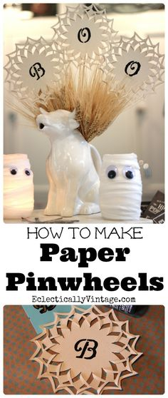 How to make paper pinwheels - these would be cute as a banner too! eclecticallyvintage.com