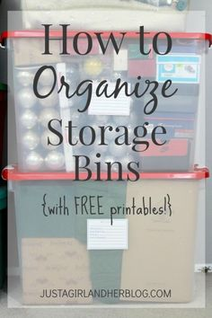 How to Organize Storage Bins (with free printables!) -- We need to do this in our basement! | JustAGirlAndHerBlog.com