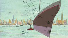 New York Harbor by Charley Harper, 1947