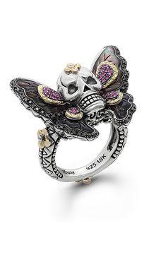 Zen Garden Butterfly Skull Ring – Black Mother of Pearl, Black Diamond – Barbara Bixby