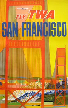 David Klein created iconic advertisements for his client TWA. Klein, through his use of bright colors and famous landmarks created these original vintage travel posters. #imageofthemonth #originalvintage #art #colorful #travelposters #prints #SanFrancisco #interiordesign #midcentury #airlineposters #originalposters #chicagocenterfortheprint #americantravel #artgallery #vintagetravel