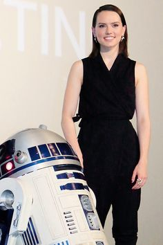 R2-D2 and Daisy Ridley from Star Wars Episode VII The Force Awakens