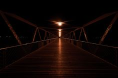 Bridge at night - The bridge leading to the UPC campus in Castelldefels
