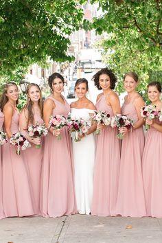 Blush Colored Bridesmaid Dresses, Wedding Bridesmaid Flowers, Bridesmaid Separates, Dusty Rose Wedding, Wedding Bridesmaid Dresses, Brides And Bridesmaids, Dusty Rose Dress, Mauve, Tulle
