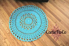 Blue Lace Doily Rug Crochet by CarlieFloCo on Etsy, $65.00