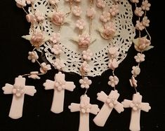 Mini Rosary Favors Girls Baptism Favor 12 Pink by PartyFavorsMiami