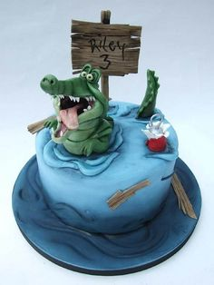 Cake Wrecks - Home - Sunday Sweets: A Disney Movie Marathon, Part 2 Peter pan crocodile! Alligator Cake, Alligator Party, Cake Wrecks, Bolo Thor, Fondant Cakes, Cupcake Cakes, 3d Cakes, Crocodile Cake, Recipes