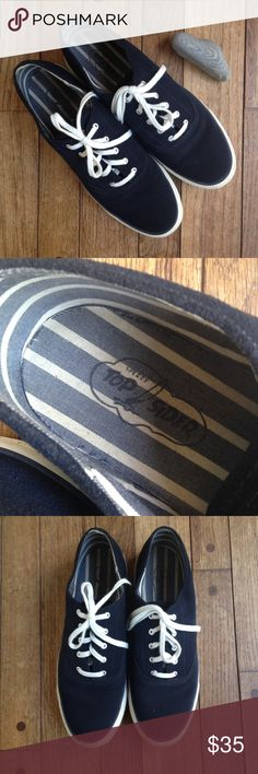 Sperry Topsider navy blue suede lace up sneakers Dark navy blue suede. White laces. Non-slip, non-marking soles show very little wear. VGUC- gently preloved condition. See photos for close ups! Sperry Top-Sider Shoes Sneakers