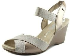 009c5dc5caf Anne Klein Sport Wilamina Women Open Toe Canvas Nude Wedge Sandal.