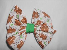 "Fabric Hair Bow w Alligator Clip Brown Xmas Gingerbread Handmade NEW! 3""x 3"" #Handmade"
