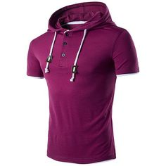 Mens Hooded Drawstring T-shirt Solid Color Short Sleeve Spring Summer Casual Tops Tees