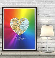Gay & Lesbian Custom Wedding Heart  Map Location -  LGBT Community Couples…
