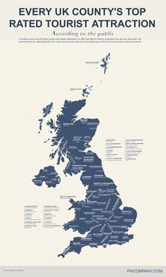 Every United Kingdom county's top rated tourist attraction - Vivid Maps Uk Tourist Attractions, Tourist Map, Travel Maps, Places To Travel, Places To See, Design Thinking, Map Of Britain, Design Ios, County Map