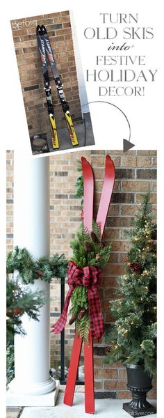 Turn old skis into a festive holiday decor made of confessions … - DIY Christmas Decoration Noel Christmas, Country Christmas, Winter Christmas, Christmas Wreaths, Christmas Island, Christmas Porch Decorations, Christmas Movies, Christmas 2019, Christmas Lights