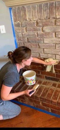 Brick Fireplace Decor, White Wash Brick Fireplace, Fireplace Update, Brick Fireplace Makeover, Paint Fireplace, Home Fireplace, Fireplace Remodel, Fireplace Whitewash, Fireplace Ideas