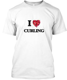 I Love Curling White T-Shirt Front - This is the perfect gift for someone who loves Curling. Thank you for visiting my page (Related terms: I Love,Love Curling,I Love Cross Country Skiing ,Cross Country Skiing ,Cross country skiing ,Cross C ...)