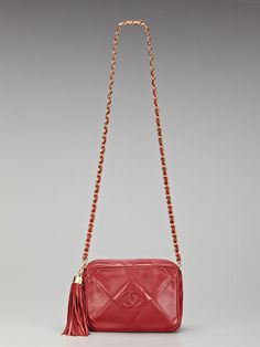 Chanel Vintage Red Quilted Lambskin Leather Mini Tasseled Camera Bag