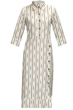 White ikat high low shirt dress by Akuri by Puri.       Shop now:  http://www.perniaspopupshop.com/designers/akuri-by-puri  #shopnow #perniaspopupshop #akuribypuri