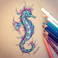 """nikki on Instagram: """"I finished my weird little seahorse and I think it looks pretty cool! I used Strathmore toned tan paper,  Prismacolor colored pencils,…"""""""