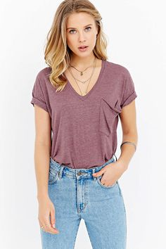 Truly Madly Deeply V-Neck Slouch Pocket Tee #UrbanOutfitters