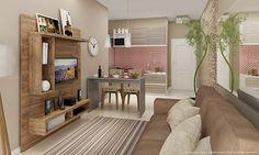 Sala de Estar Conjugada com Cozinha Completa com Estante Home Theater, Mesa/Bancada e 2 Cadeiras Nobre/Branco/Ravena/Amêndoa/Floral Colorido - Caaza