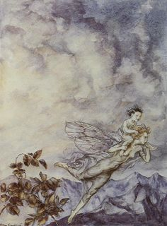 """""""A Fairy Flew Off with the Changeling"""" by Arthur Rackham"""