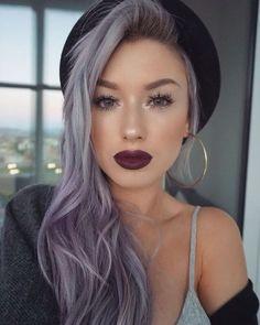 Purple mermaid hair hair and make up hair, hair styles, hair inspo. Light Purple Hair, Purple Grey Hair, Grey Ombre, Fuschia Hair, Girl With Purple Hair, Purple Ombre, Ombre Color, Purple Lace, Ombré Hair