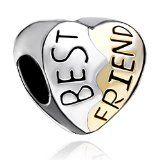 Silver Plated Heart Best Friend Bead Fits Pandora Charm Bracelet