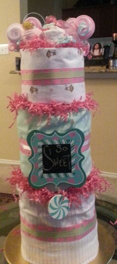 Hey, I found this really awesome Etsy listing at https://www.etsy.com/listing/238642982/3-tier-pink-green-diaper-cake-w-door