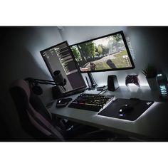 Leading 30 Stunning Home Office Design Computer Desk Setup, Computer Station, Gaming Room Setup, Pc Desk, Pc Setup, Gaming Computer, Cheap Gaming Setup, Cheap Desk, Gaming Rooms