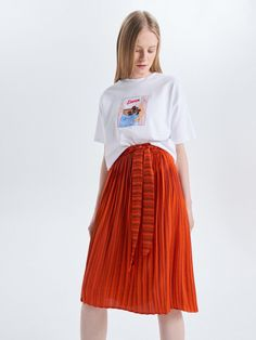 c0f9ee5c650a Plisovaná midi sukně s páskem - Oranžová - VO478-23X - Cropp - 4