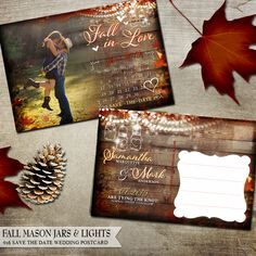 fall wedding save the date postcards with calendar wood plank background and hanging lights and